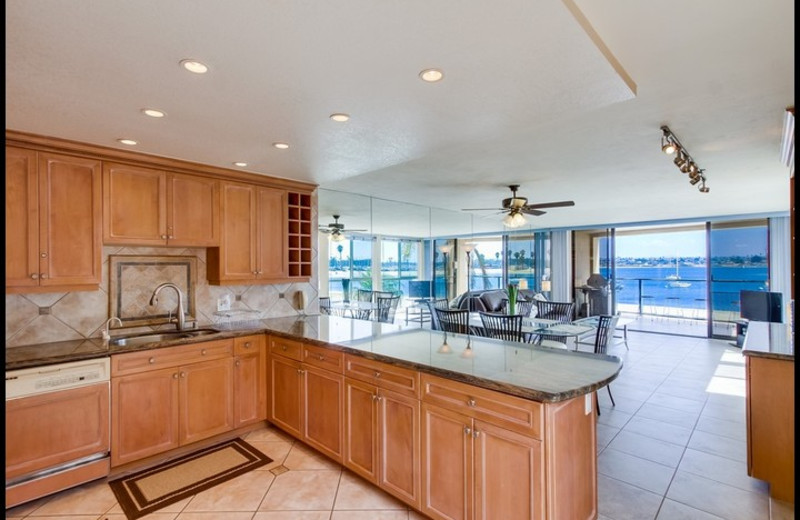 Rental kitchen at Surf Style Vacation Homes.