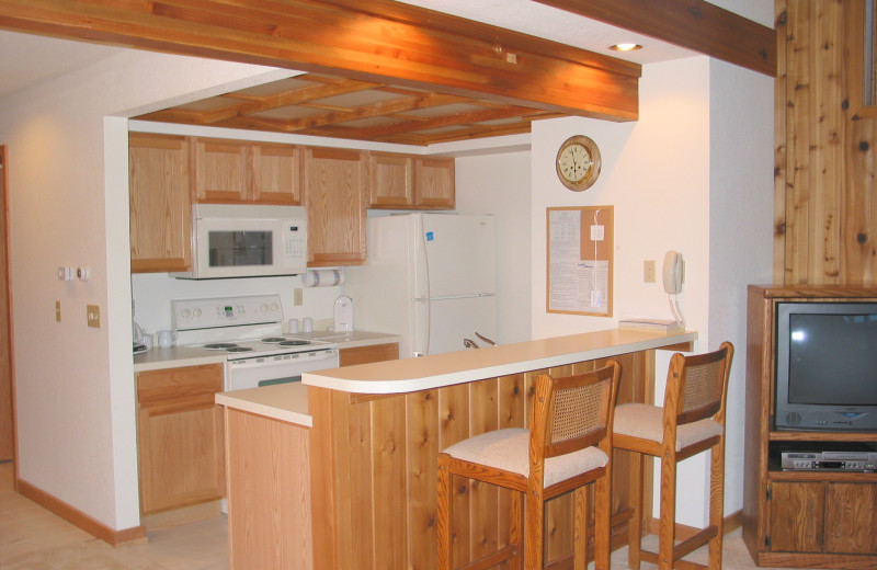 Rental kitchen at Hamlet Village Resort Condominiums.