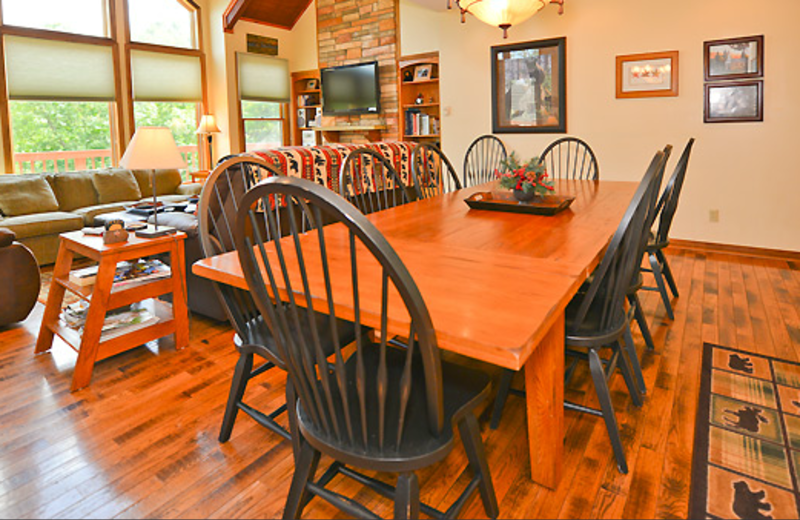 Cabin dining table at Black Bear Resort Rentals.