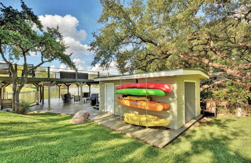 Kayaks at Shady Grove Vacation Home on Lake LBJ.