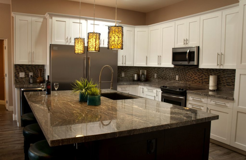 Rental kitchen at Latitude 8 Vacation Rentals.