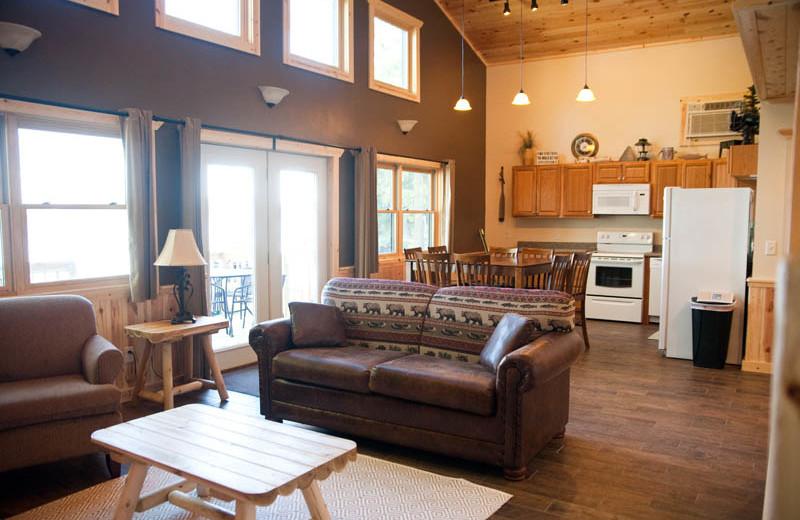 Cabin interior at Campfire Bay Resort.