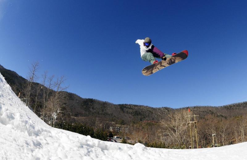 Snowboarding at Massanutten Resort.