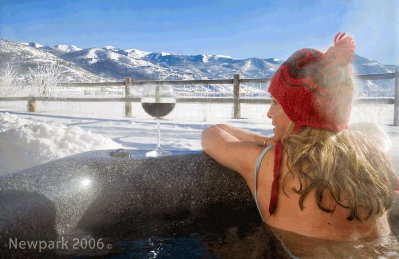 Relaxing in hot tub at Newpark Resort.