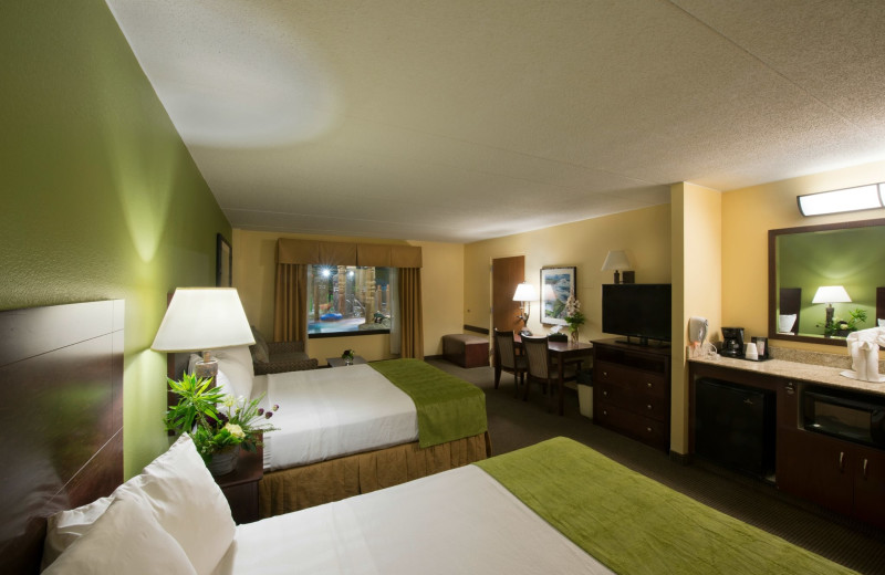 Guest room at EdgeWater Resort and Waterpark.