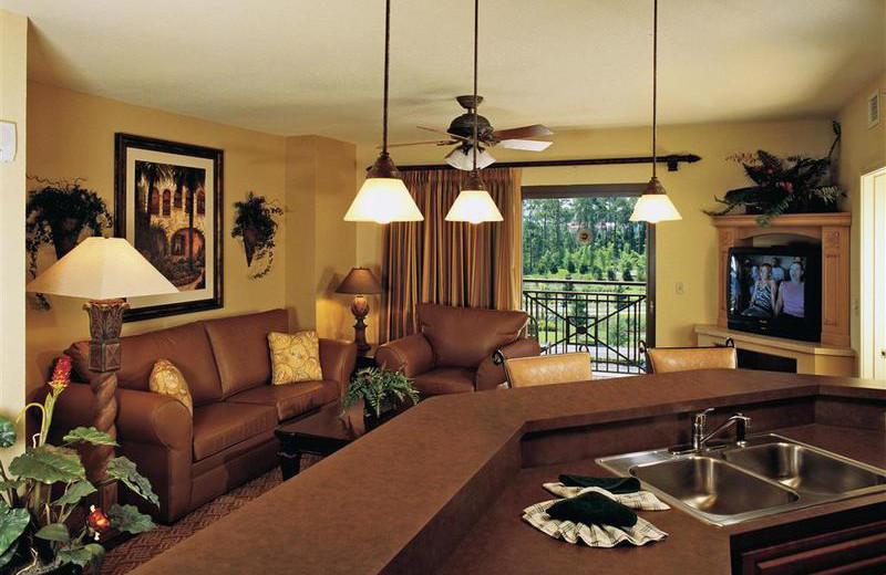 Guest living room at Wyndham Bonnet Creek Resort.