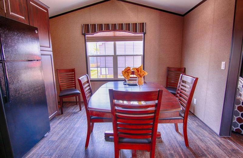 Cabin kitchen at Great Blue Resorts- Vine Ridge Resort.