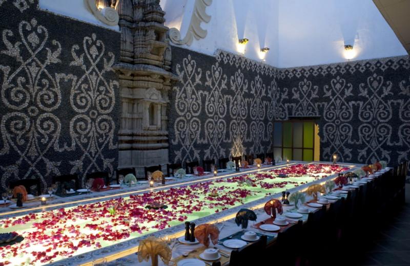 Dining at Udai Bilas Palace.