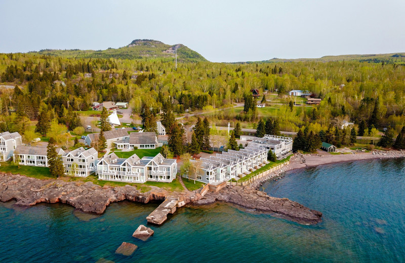 Aerial view of Bluefin Bay on Lake Superior.