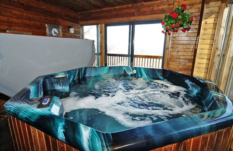 Rental hot tub at Chalet Village.