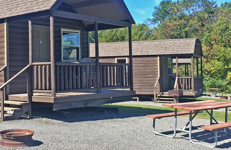 Cabin exterior at Yogi Bear's Jellystone Park Gardiner.