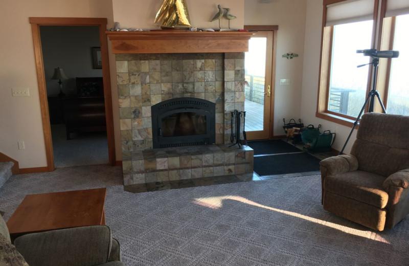 Living fireplace at Dungeness Beach Retreat.