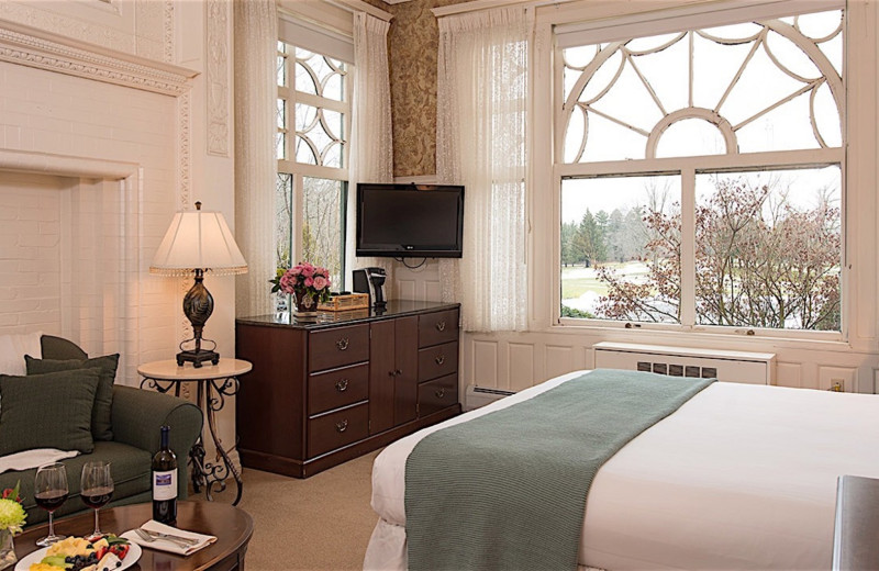 Guest room at Cranwell Spa & Golf Resort.