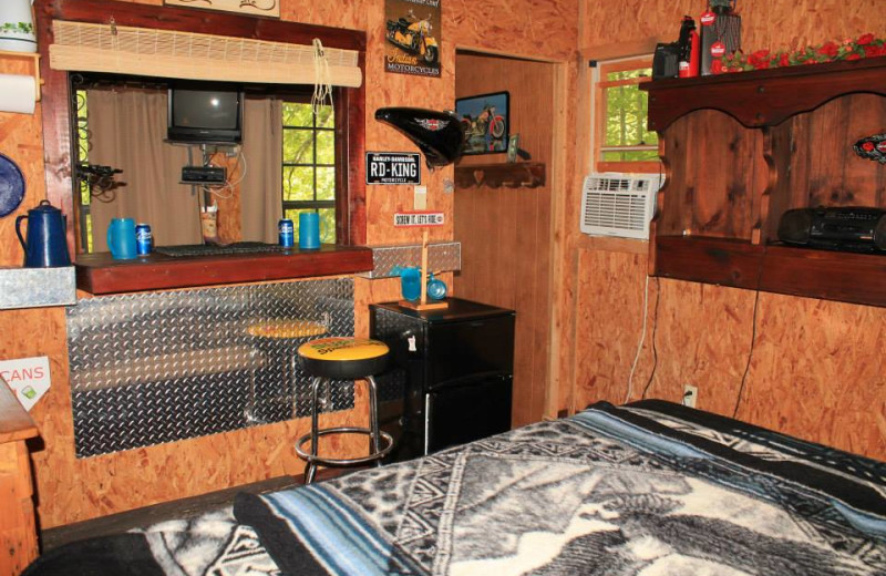 Cabin bedroom at Mountain Rest Cabins and Campground.