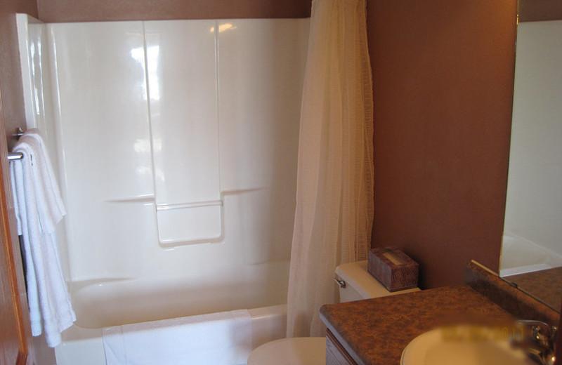 Cabin bathroom at Brophy Lake Resort.