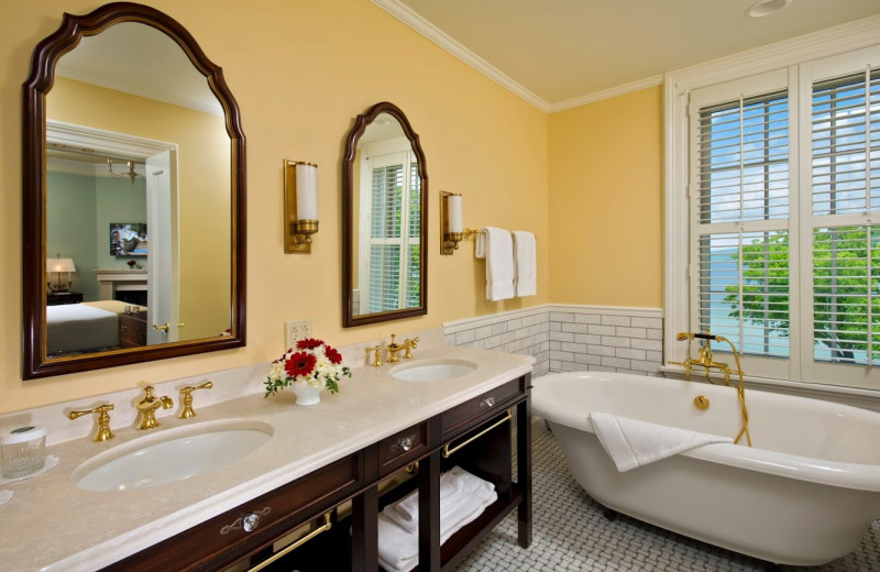 Guest bathroom at The Otesaga Resort Hotel.