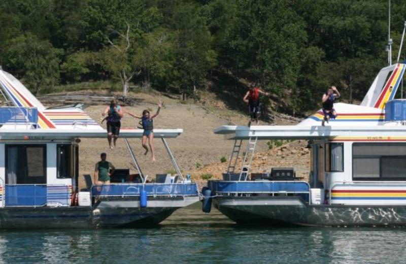 Jumping into the lake at Jamestown Resort and Marina.