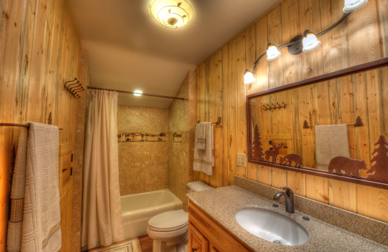 Cabin bathroom at Wild Skies Cabin Rentals.