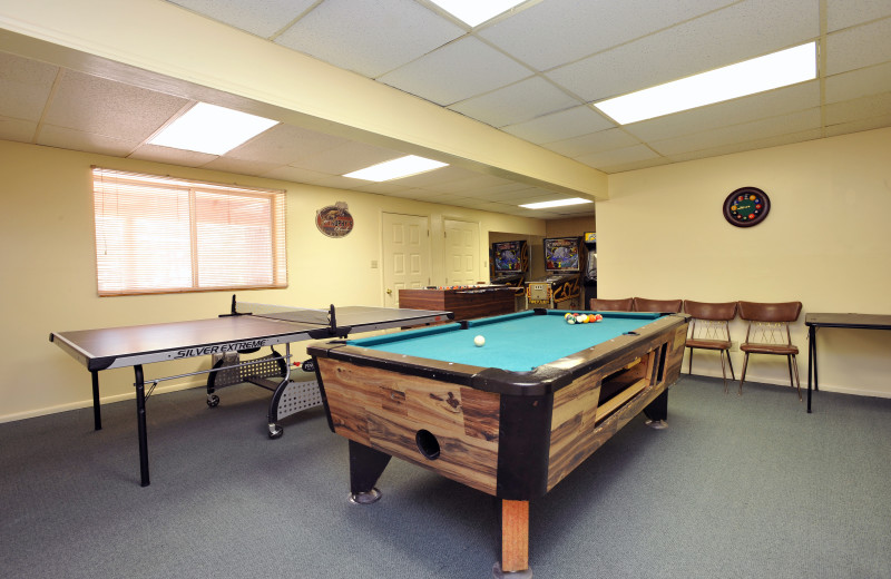 Game room at Pinewoods Resort.