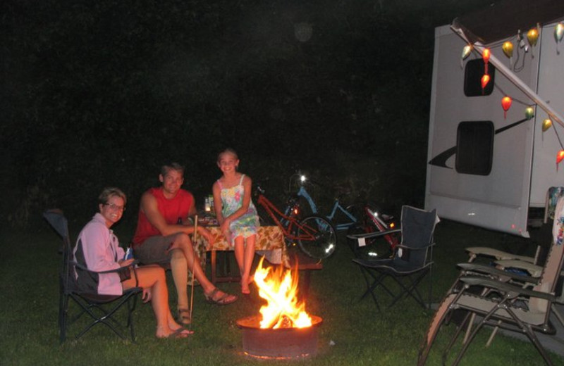 Enjoying a Bonfire at Merry Mac's Campground