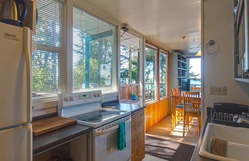 Rental kitchen at Sequim Valley Properties.