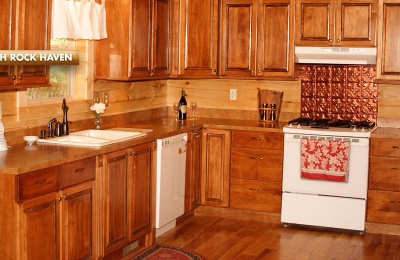 Rental kitchen at High Rock Rentals.