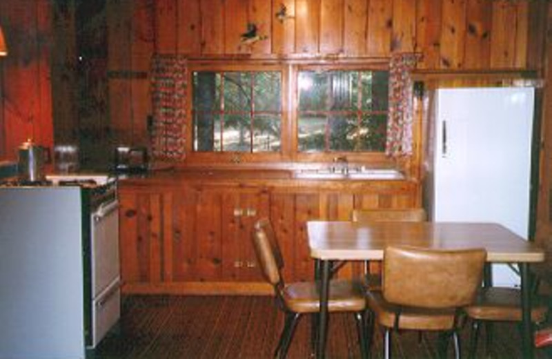 Cabin kitchen and dining at Pine Grove Lodge.