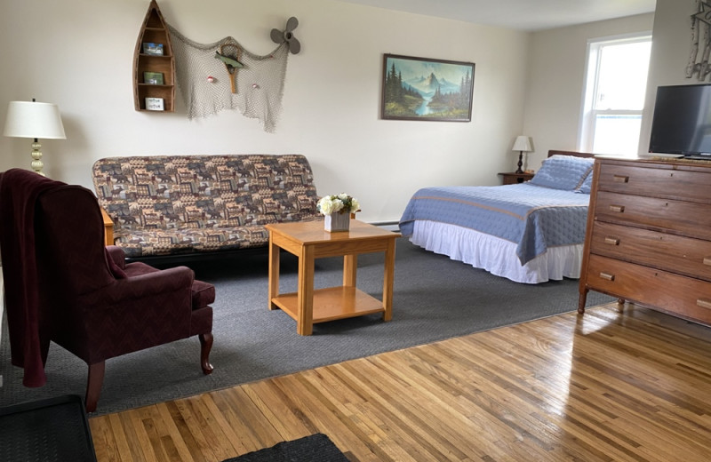 Cabin interior at Pelican Motel.