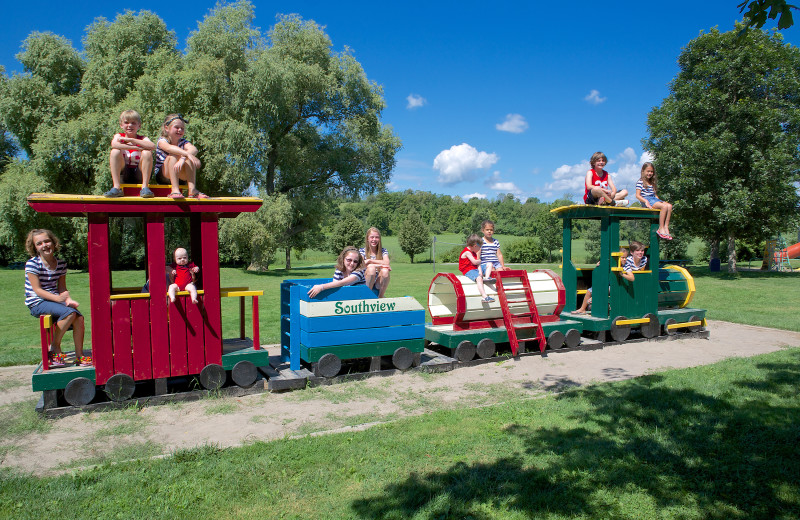 Train playground at Southview Cottages Resort.