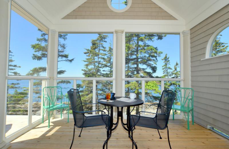 Cottage patio at Newagen Seaside Inn.
