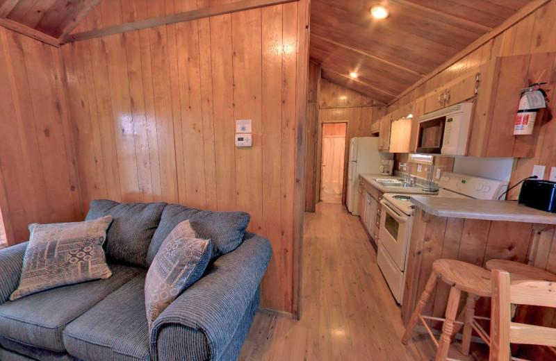 Cabin interior at Yogi Bear's Jellystone Park Memphis.