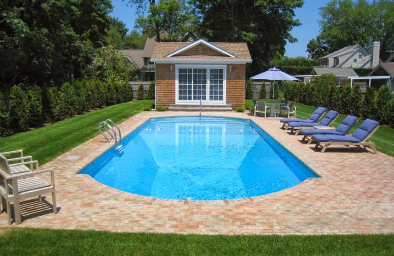 Outdoor pool at East Hampton Village B & B.