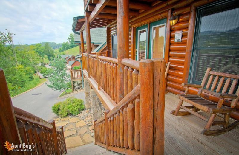 Cabin deck at Aunt Bug's Cabin Rentals, LLC.