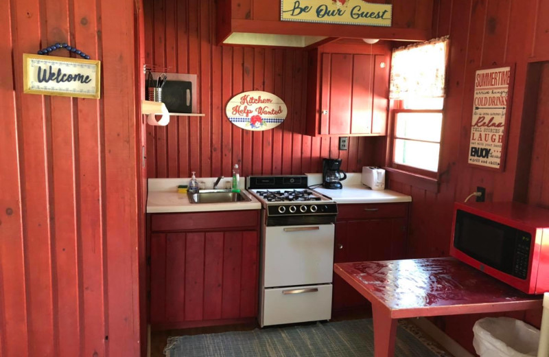 Cabin kitchen at Bell's Resort Bar and Grill.