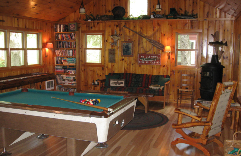 Cabin interior at Two Inlets Resort.
