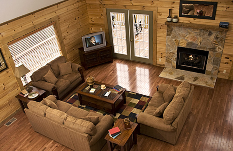 Cabin living room at Rock Creek Cabins.