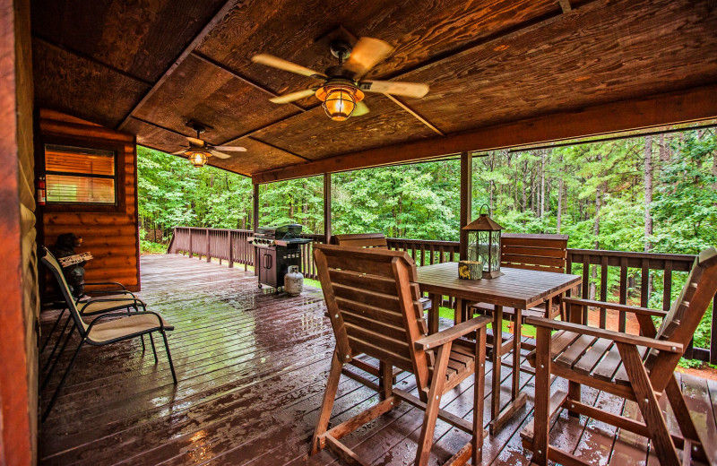 Cabin deck at Blue Beaver Luxury Cabins.