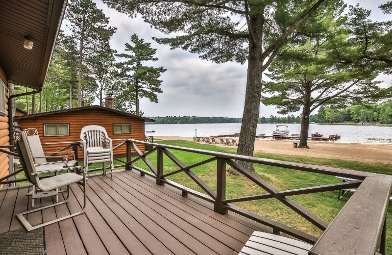 Cabin deck at Serenity Bay Resort.