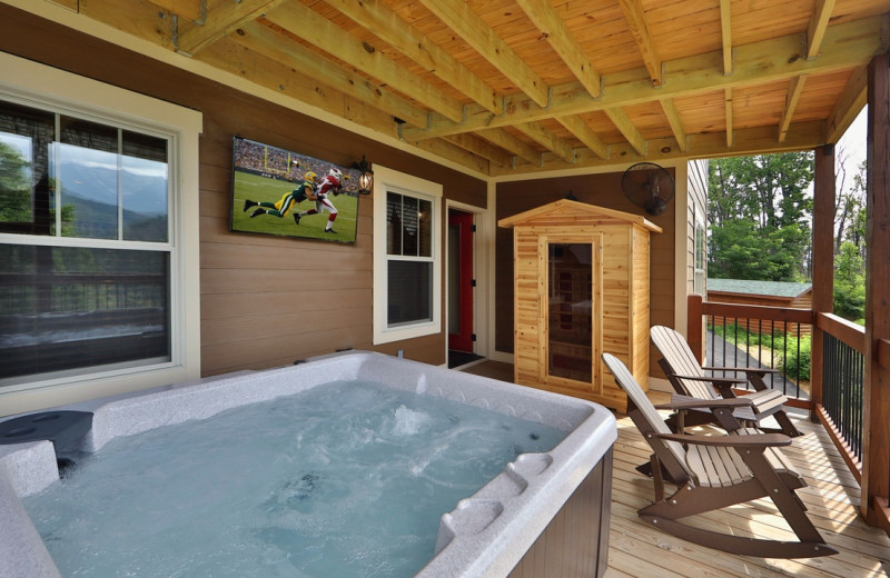 Rental hot tub and sauna at Eden Crest Vacation Rentals, Inc.