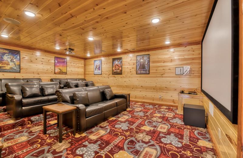 Rental theater at Natural Retreats Great Smoky Mountains.