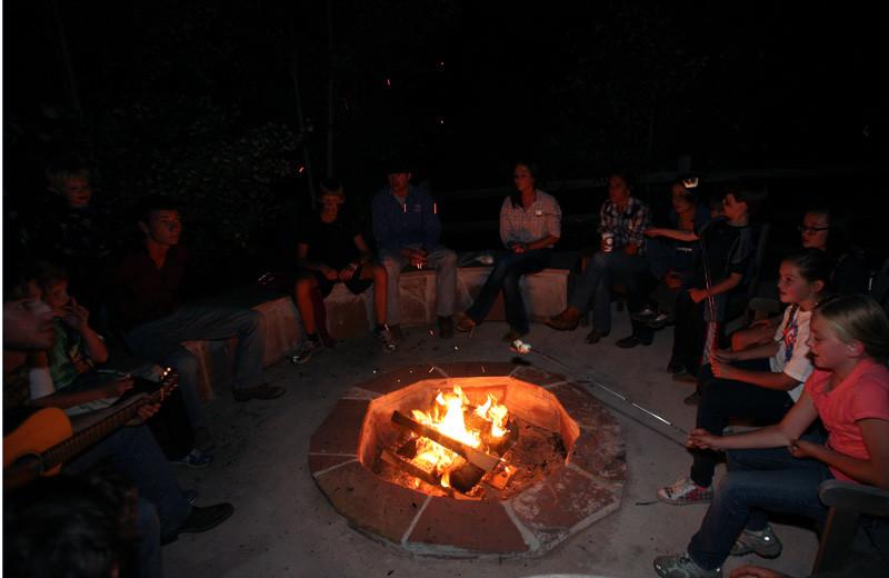 Campfire at Tumbling River Ranch.
