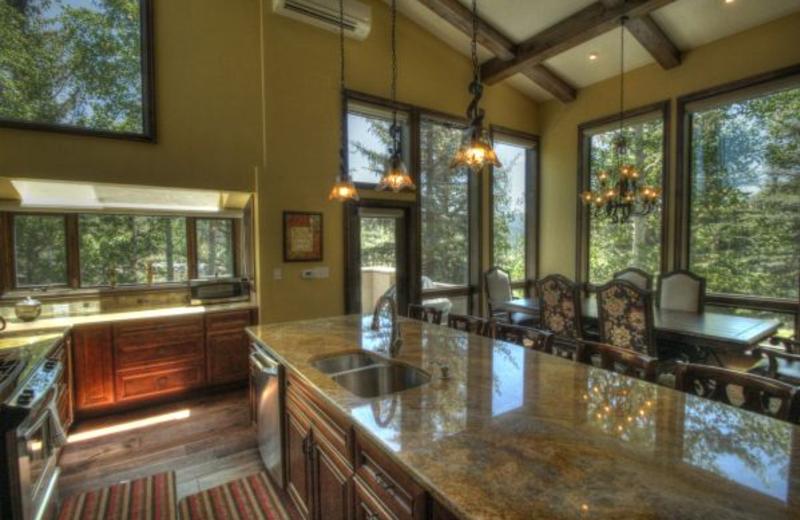 Vacation rental kitchen at SkyRun Vacation Rentals - Vail, Colorado.