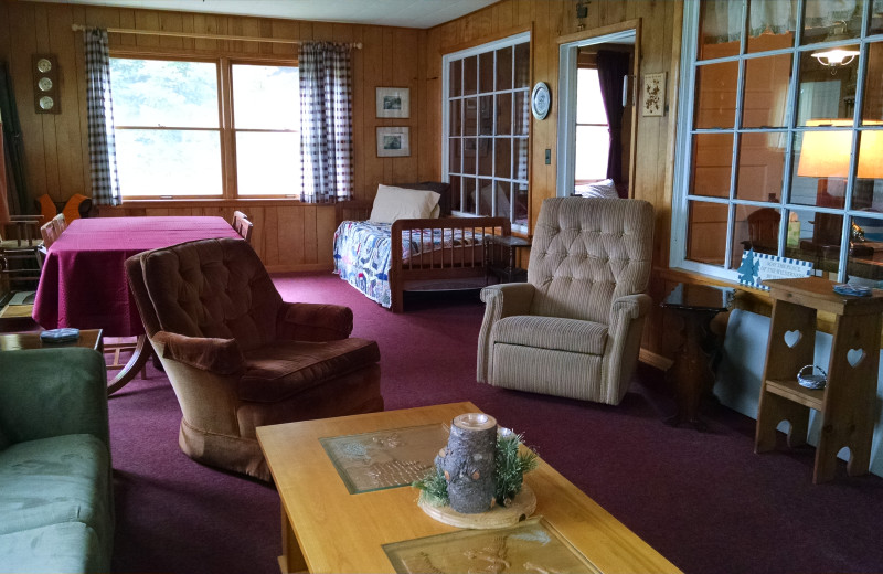 Cabin living room at The Arrows Resort.