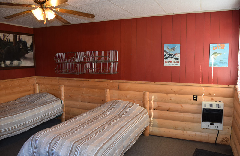 Guest room at Misaw Lake Lodge.