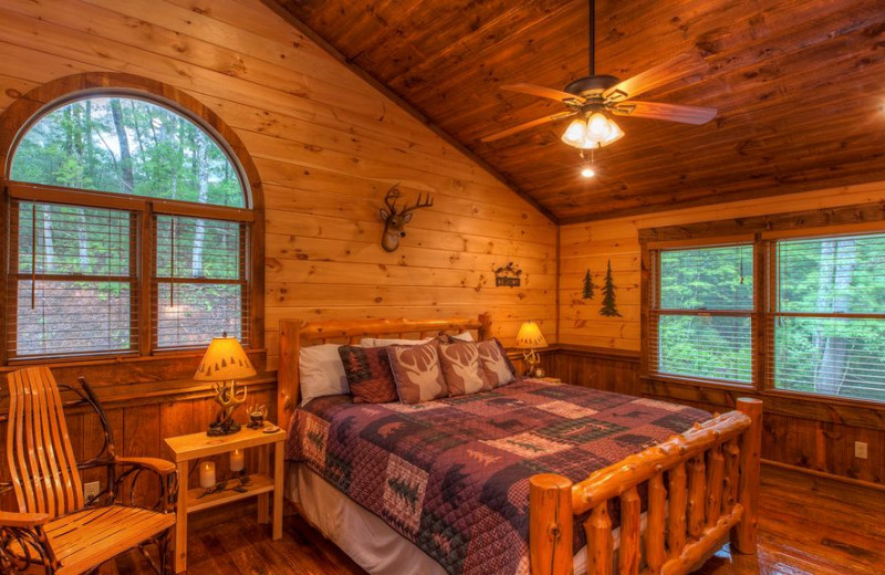 Rental bedroom at Cabin Rentals of Georgia.