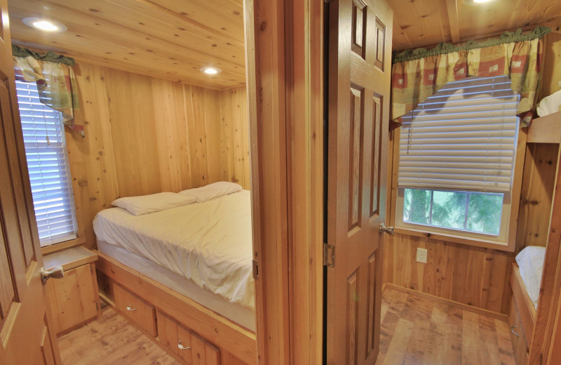 Cabin bedroom at Yogi Bear's Jellystone Park Memphis.