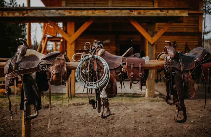 Horse saddles at Big Creek Lodge.