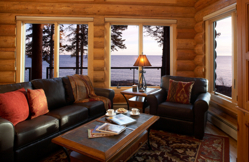 Cabin living room at Temperance Landing on Lake Superior.