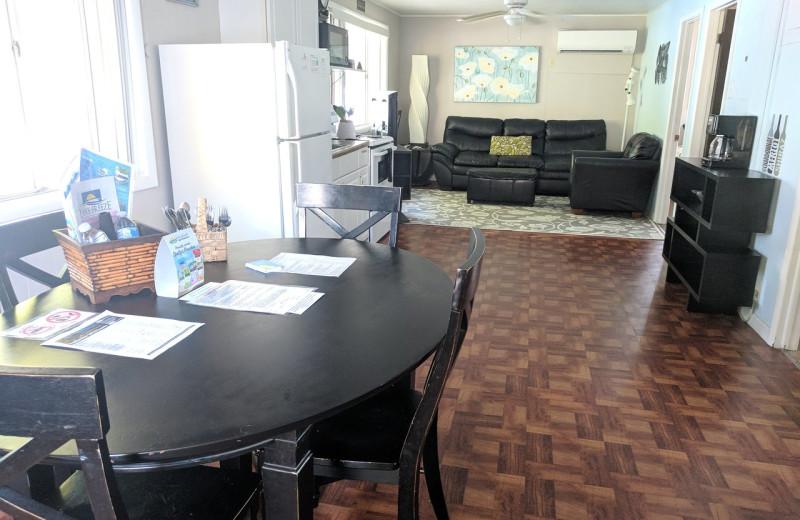 Cabin living room at Lake Breeze Resort.