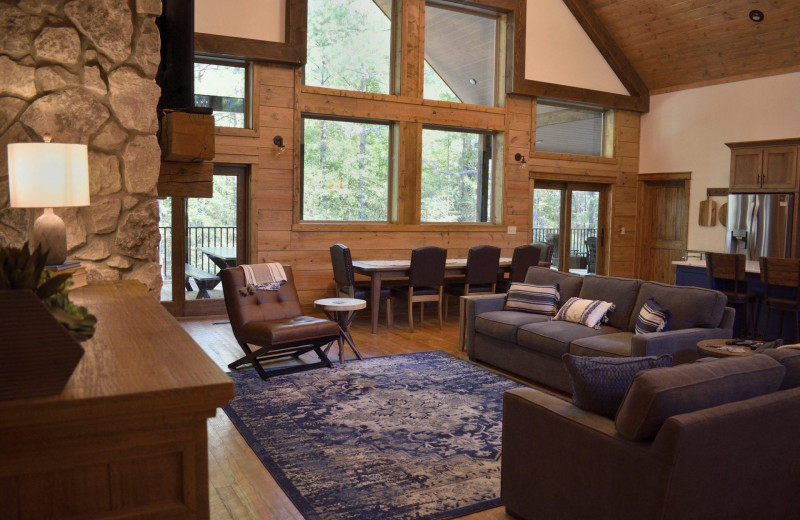 Rental living room at White Glove Luxury Cabins.